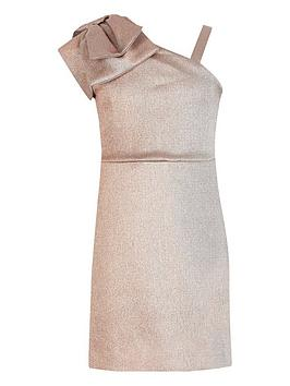 River Island River Island Girls One Shoulder Bow Dress-Rose Gold Picture