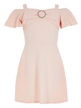 River Island Girls Scuba Frill Diamante Dress- Pink
