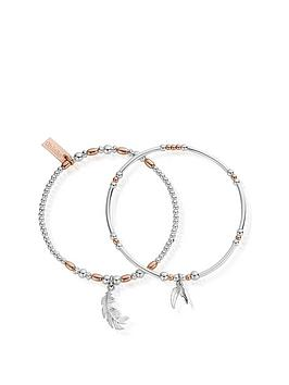 chlobo-sterling-silver-rose-gold-plated-strength-and-courage-set-of-2-bracelets