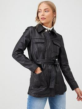 V by Very V By Very Belted Leather Coat - Black Picture