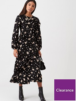 river-island-river-island-printed-frill-smock-dress-black