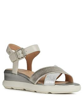 Geox Geox Pisa Suede Low Wedge Sandal - Silver Picture
