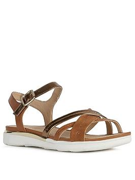 Geox Geox Shiver Leather Flat Sandal - Gold/Tan Picture
