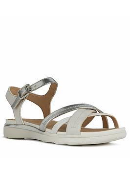 Geox Geox Shiver Leather Flat Sandal - Silver/White Picture