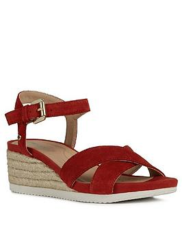 Geox Geox Ischia Suede Wedge Sandal - Red Picture