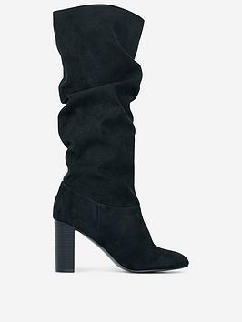 dorothy-perkins-dorothy-perkins-wide-fit-black-ruched-70s-calf-boots-black