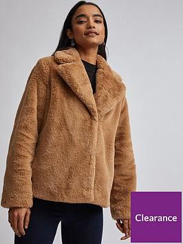dorothy-perkins-dorothy-perkins-petite-champage-faux-fur-jacket-brown