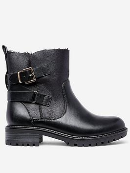 Dorothy Perkins Dorothy Perkins Wide Fit Aloha Biker Boots - Black Picture