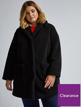 dorothy-perkins-curve-black-teddy-coat