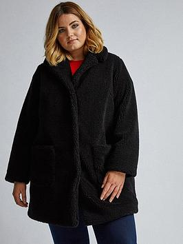 Dorothy Perkins   Curve Black Teddy Coat
