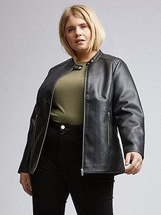 dorothy-perkins-dorothy-perkins-curve-pu-collarless-jacket-black