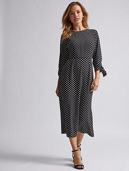 dorothy-perkins-dorothy-perkins-petite-black-spot-tie-midi-dress-black