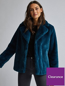 dorothy-perkins-dorothy-perkins-teal-short-plush-faux-fur-coat