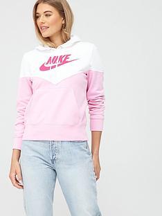 nike-nswnbspheritage-pullovernbsphoodie-pinkwhitenbsp