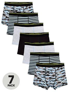 V by Very V By Very Boys 7 Pack Print Trunks - Print Picture