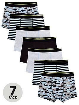 V by Very V By Very Boys 7 Pack Print Trunks - Print Picture