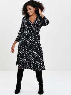 evans-heart-print-wrap-dress-black