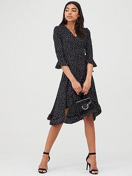 Boohoo Boohoo Boohoo Polka Dot Ruffle Wrap Midi Dress - Black Picture