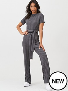boohoo-boohoo-tie-belt-short-sleeve-jumpsuit-grey