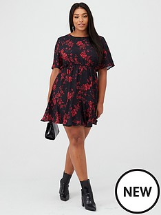 boohoo-plus-boohoo-plus-tiered-woven-smock-dress-black