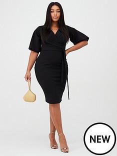 boohoo-plus-boohoo-plus-wrap-midi-dress-black