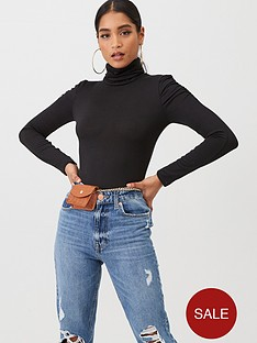 boohoo-boohoo-roll-neck-top-with-structure-shoulder-black