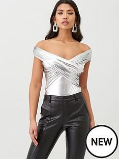 boohoo-boohoo-metallic-wrap-front-bodysuit-silver