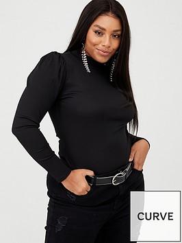 boohoo-plus-boohoo-plus-rib-knit-puff-sleeve-high-neck-bodysuit-black