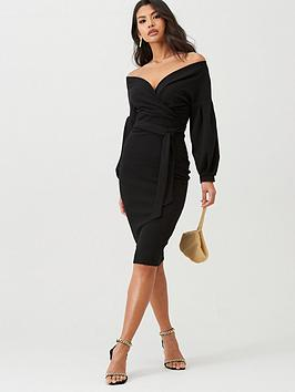 Boohoo Boohoo Boohoo Off The Shoulder Wrap Midi Dress - Black Picture