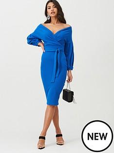 boohoo-boohoo-off-the-shoulder-wrap-midi-dress-cobalt