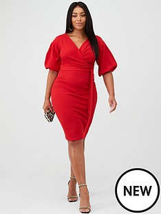 boohoo-plus-boohoo-plus-wrap-midi-dress-red