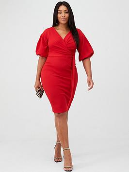 Boohoo Plus Boohoo Plus Boohoo Plus Wrap Midi Dress - Red Picture