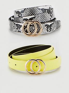 V by Very V By Very 2 Pack Leo Double Buckle Belt - Multi Picture