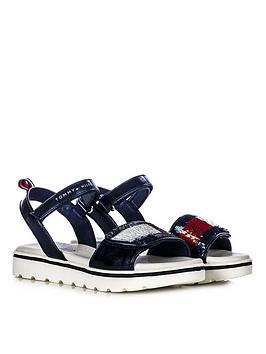 Tommy Hilfiger Tommy Hilfiger Girls Sequin Strap Sandals - Navy Picture