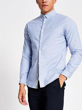 River Island River Island Maison Logo Long Sleeve Oxford Shirt Picture