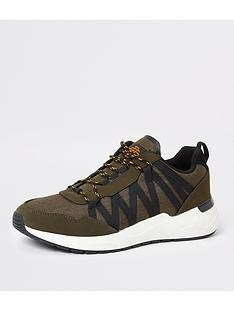 river-island-dark-green-lace-up-runner-trainers