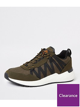 river-island-lace-up-runner-trainers-dark-green