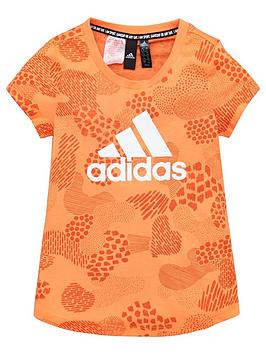 Adidas   Junior Girls Tee - Orange