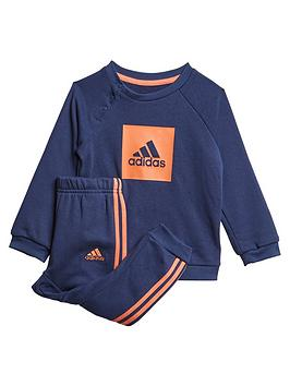 Adidas   Infant 3 Stripe Logo Crew Set - Navy