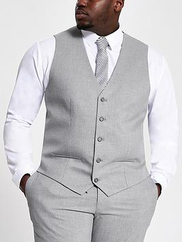 River Island River Island Big And Tall Grey Textured Waistcoat Picture