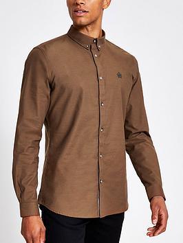 river-island-brown-slim-fit-long-sleeve-oxford-shirt