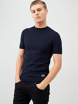 River Island River Island Navy Ribbed Muscle Fit Knitted T-Shirt Picture