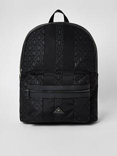 river-island-black-rir-monogram-zip-top-backpack