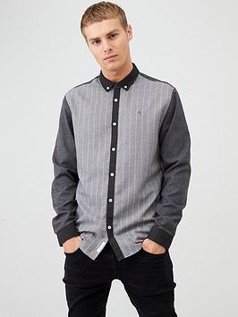 river-island-grey-pinstripe-colour-block-regular-fit-shirt