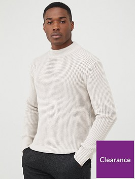 river-island-slim-fit-waffle-knitted-jumper-stone
