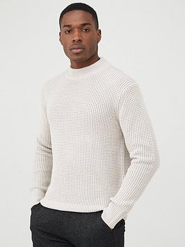 River Island River Island Slim Fit Waffle Knitted Jumper - Stone Picture