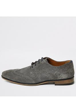 River Island River Island Leather Lace Up Brogues - Grey Picture