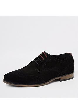 River Island River Island Suede Lace-Up Brogue - Black Picture