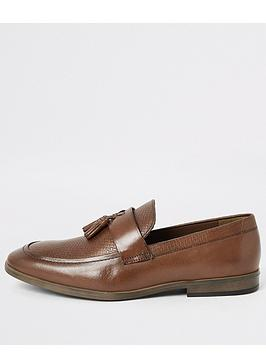 River Island River Island Leather Tassel Textured Loafers - Brown Picture