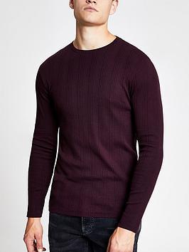 river-island-ribbed-long-sleeve-slim-fit-t-shirt-burgundynbsp